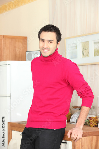 Man in pink sweater