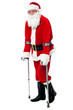 Santa walking with the help of crutches