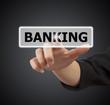 woman hand touching button banking keyword