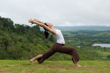 Yoga Pose Outdoors, High Lunge