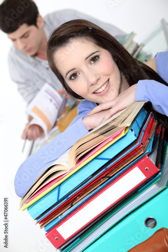 Oblique image of students with folders