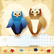 Owls background in vintage style