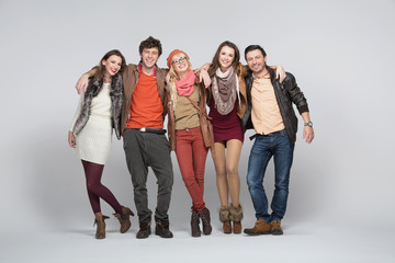 Smiling young people with white bacground