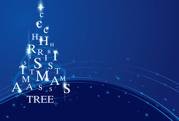 Xmas typography tree on blue