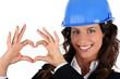 Businesswoman  making heart shape