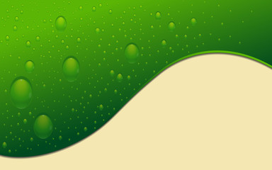 Green abstract background with drops of water