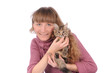 Girl with cute cat on the hands  isolated over white