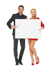 couple holding big blank board