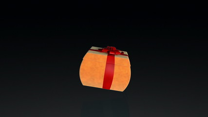 Gift box opening lid to present a virtual product with sparkles