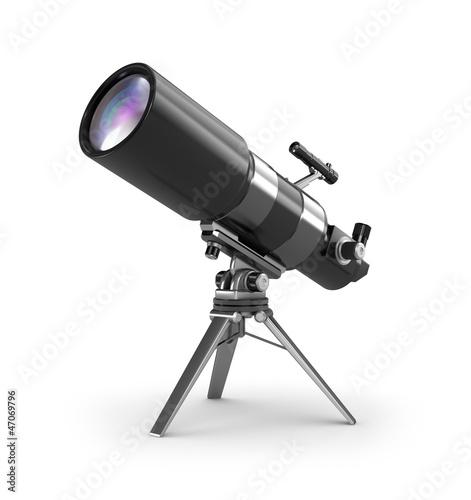 Leinwandbild Motiv Telescope on support over wite