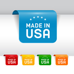Set of Made in USA Labels. Vector.