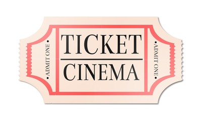 Retro, vintage, isolated cinema ticket.