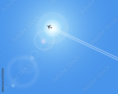 Realistic vector sun and airplane with lenses flare. No mesh.