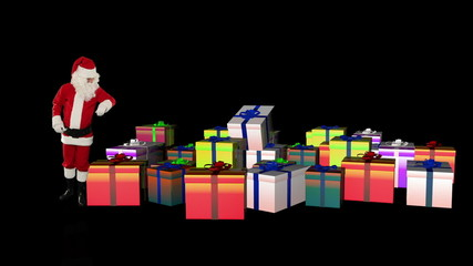 Santa Claus magically piling up gift boxes, against black