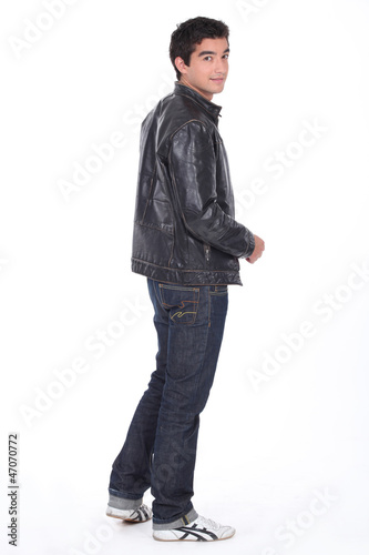 Young man in a leather jacket