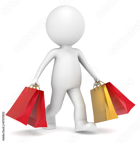 3D little human character carrying Christmas Shopping Bags.