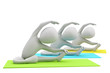 3d group of people doing yoga exercises. 3d image. On a white ba