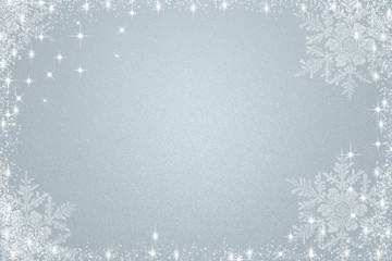Blue/grey christmas background with lights and snowflakes