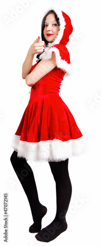 girl posing dressed as Santa isolated  Christmas