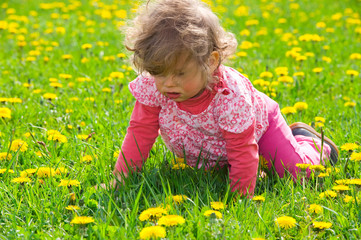 happy girl in the spring meadow