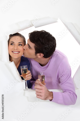happy couple drinking champagne