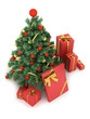 Christmas tree and gifts on white background