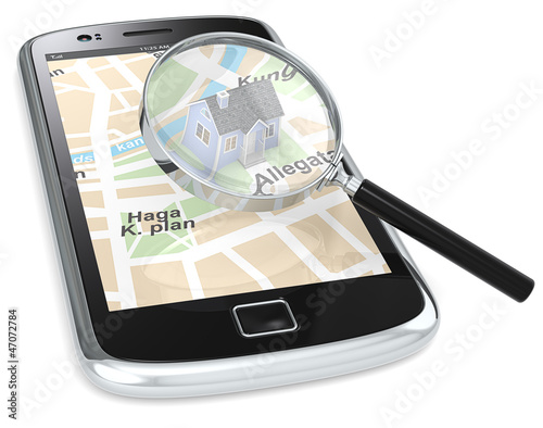 Smartphone with a GPS map with a 3D house and a Magnifying Glass