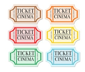 Retro, vintage, isolated cinema tickets.