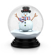 snowman in snow dome 3d illustration