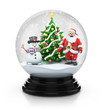 Santa Claus Snowman and Christmas tree inside snow globe