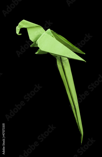 Deurstickers Geometrische dieren Paper made parrot black isolated