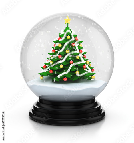 christmas tree in snow dome