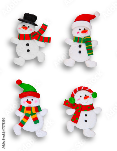 Four Snowmen Over White