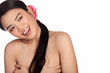 Laughing Asian girl posing topless
