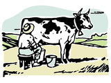 man milking a cow in a field