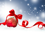 Fototapety Christmas Holiday Background with Red Bauble and Snow