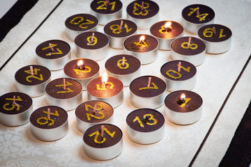Brown burning candles from advent calendar