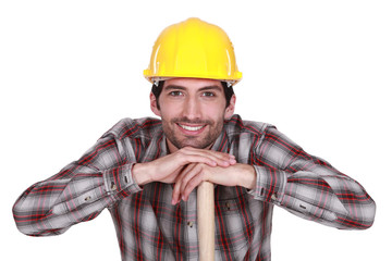 A handsome construction worker.