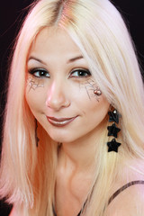 beautiful blond girl with halloween make up
