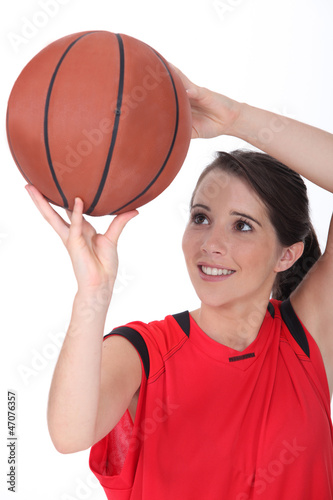 Young female basketball player