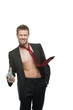 sexy winking businessman in red tie holding money