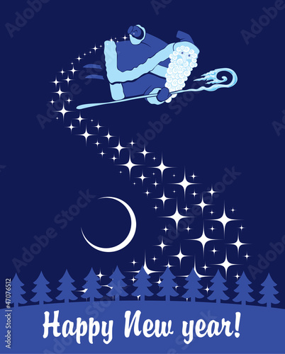 Santa Claus in the night sky scatters stars