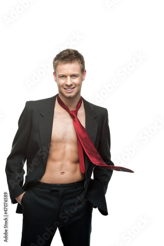 sexy smiling businessman in red tie