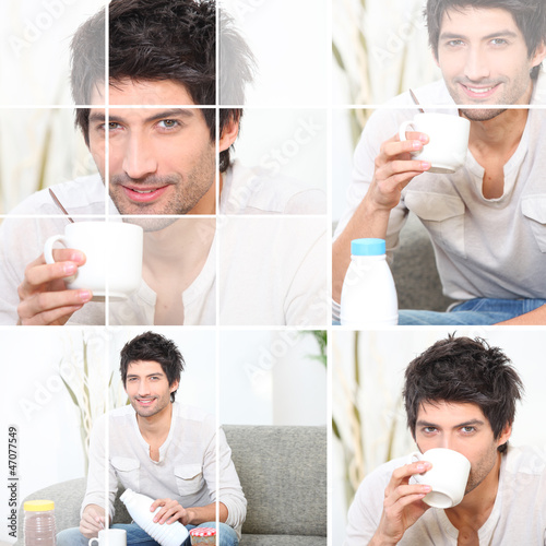 Man pouring milk into coffee