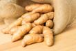 Burlap sack of fingerling potatoes