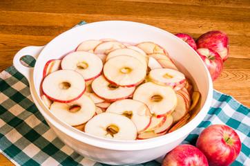 Bowl of sliced apple rings