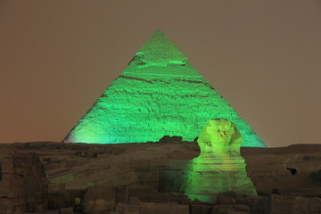 Giza pyramid and Sphinx at night, Eygpt