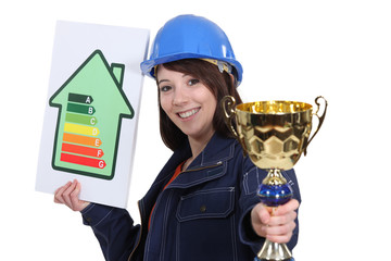 Woman with energy sign and trophy