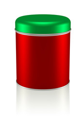 3D Christmas Tin Can design product package, isolated