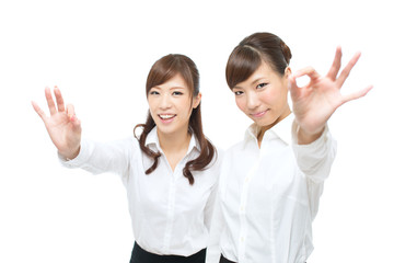 Beautiful asian businesswomen on white background
